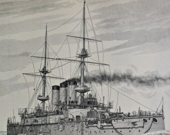 Shikishima-class Japan battleship print. Old book plate, 1904. Antique  illustration. 110 years lithograph. 9'6 x 6'2 inches.