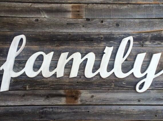 Family Wooden Letters Script Word Wooden Wall Art