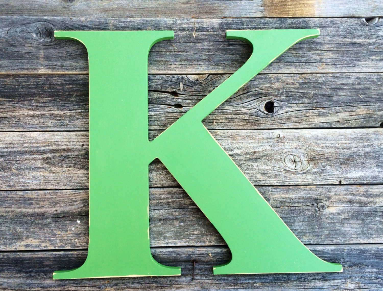 Letter k large wooden 24 distressed edges hand painted for Large wooden letter k