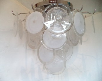 Murano Glass Chandelier with Pulegoso and clear/white disks