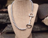 Swarovski Pearl Snaffle Bit Necklace - Equestrian - Horse Lover Gift