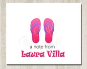 Set of 12 - FLIP FLOPS DESIGNS - Personalized Note Cards / Folded Note Cards / Thank You Cards / Great for Gifts
