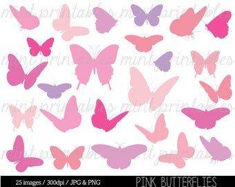 Butterfly Clipart, Pink Butterfly Clip Art, Butterfly Silhouettes Clipart, Pink baby shower - Commercial & Personal - BUY 2 GET 1 FREE!