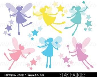Fairy Silhouette Digital Clipart Clip Art, Clipart Fairies, Star Fairies, Crown, Fairy Princess - Commercial & Personal - BUY 2 GET 1 FREE!