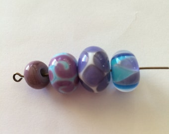 4 Purple and Teal Lampwork Beads