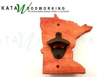 Minnesota Wood Cut-out Bottle Opener -Wall Mount -  Handmade!