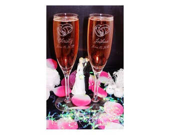 Wedding Flute SET OF 2, Engraved Wedding Flute Set for Bride and Groom, Engraved Champagne Flutes,Personalized Flutes, Custom Flutes