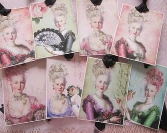 Handmade CHIC Marie Antoinette Gift Tags Glitter ~ Ribbon 9