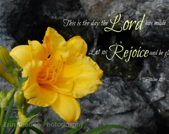 Daylily in Nebraska Springtime with rocky waterfall with bible verse Psalm 118:24. Fine Art Photography and Home Decor