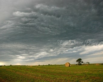 Landscape print of Storm Clouds Rolling over Scenic Nebraksa Hay field.  Fine Art Photography
