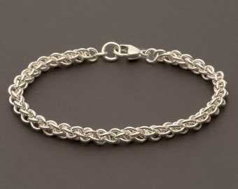925 Sterling Silver Jens Pind Bracelet, Chainmaille Bracelet, 13mm Sterling Silver Clasp (B14)