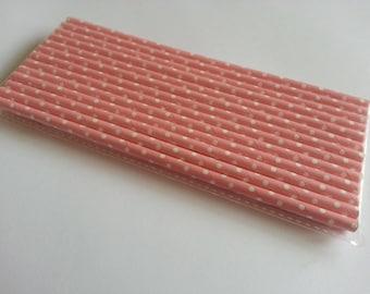 Pink Polka Dot Straws - Qty 25