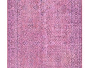 6.8 X 3.9 FT OVERDYED Vintage Turkish Rug - Purple Color Authentic Handmade Carpet. Free world wide shipping ( 3722 )
