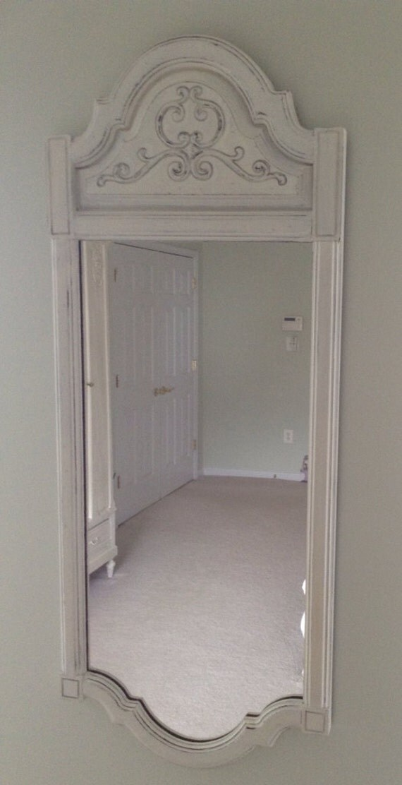 Vintage Large  Distressed White Wall Mirror
