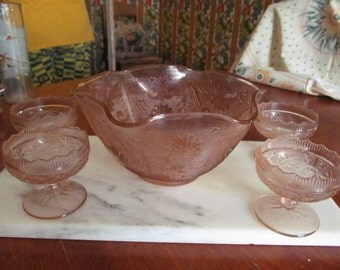 Pretty in Pink Punch or Fruit Bowl with stemware