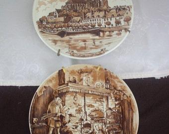 vintage porcelain plates made by Castelroux REC