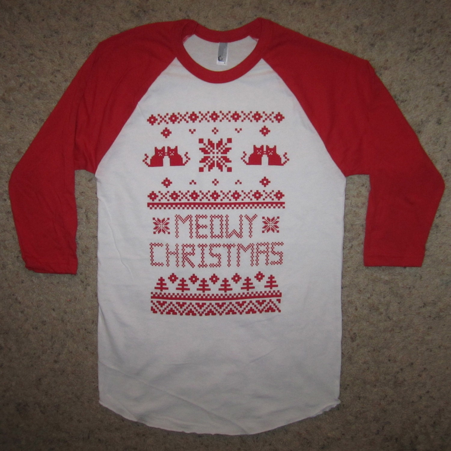 3/4 sleeve meowy christmas ugly sweater t shirt xmas raglan