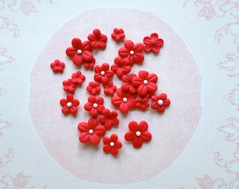 Red fondant flowers (Qty36) made by FancyTopCupcake.