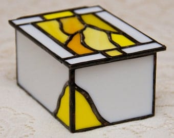 Yellow & White Stained Glass Lidded Box