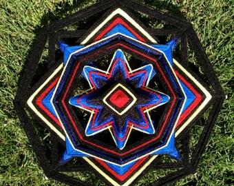 "yarn mandala, 'Atom', 12"" diameter, 8-sided, home decor, wall hanging"
