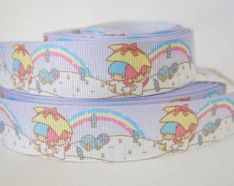 "7/8"" (22mm) Rainbow Little Twin Stars Printed Grosgrain Ribbon  GR031"