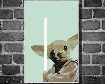 Star Wars Yoda Chihuahua movie poster minimalist poster star wars animal