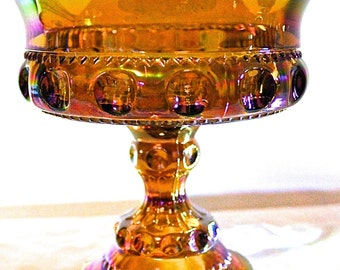 Vintage Amber Iridescent Carnival Glass Pedestal Bowl King's Crown/King's Thumbprint