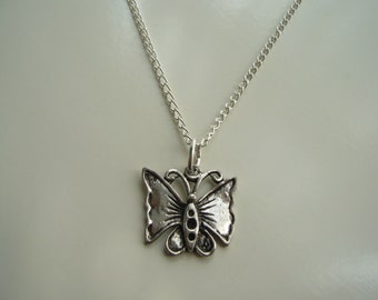 Butterfly Necklace - Antique Silver Butterfly Necklace - Butterfly Pendant Charm - Miniature Butterfly - Nickel Free