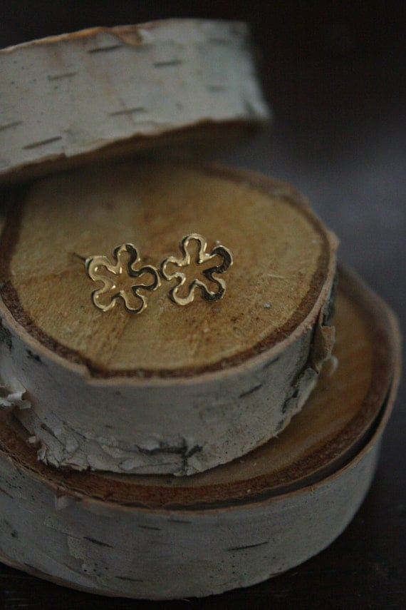 Recycled Sterling Silver Flower Stud Earrings Made in NYC