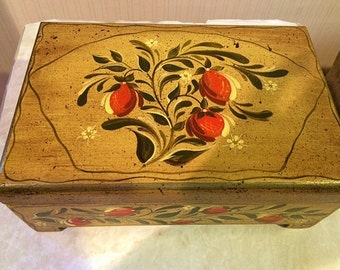 Hand Painted Flower and Vine Jewelry or Trinket Box