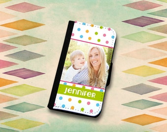 Add Your Photo & Name Cute Dot Pattern Wallet Phone Case Choose Samsung Galaxy S3, Galaxy S4, GalaxyS5, Galaxy S6 or Galaxy s6 Edge.