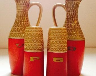 Funky ceramic and wood retro cruet set with salt pepper oil and vinegar