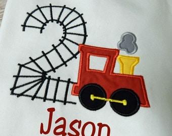 Train Tracks Number  Birthday Applique T shirt Onesie Monogram