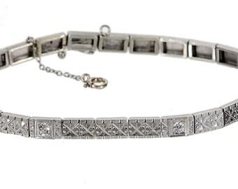 14k white gold & diamond line bracelet