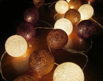 20 Brown &Whit cotton ball string lights for Patio,Wedding,Party and Decoration