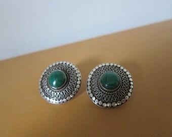 Vintage Navajo Malachite Sterling Silver Concho Post Earrings