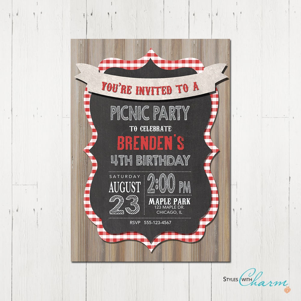 picnic birthday party invitation picnic party by