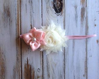 Satin rose and shabby headband