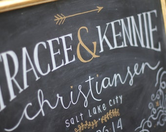 Custom Wedding Bride and Groom Chalkboard Sign - Event Name and Date - Personalized