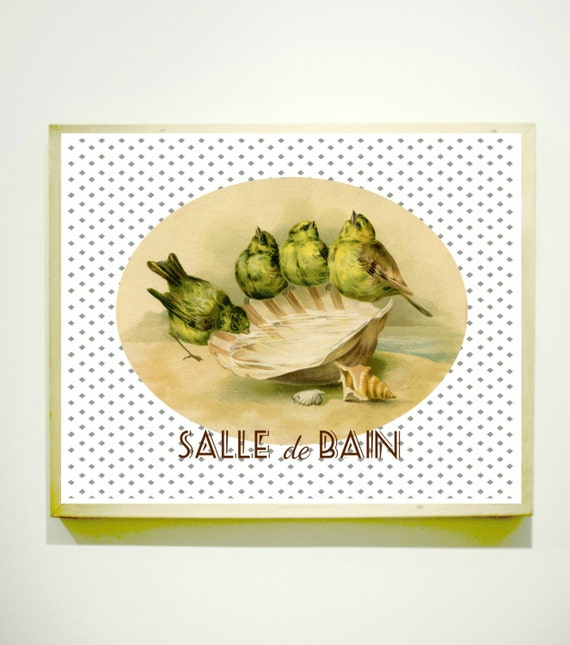 Items similar to salle de bain sign bathroom art french for Salle de bain door sign