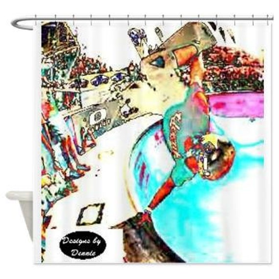 Items similar to teen boys bathroom decor skate boarder for Boys curtain material