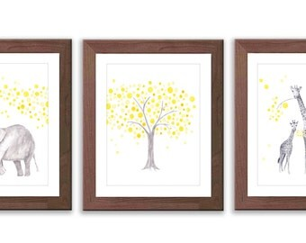 Elephant and Giraffe Nursery Art - Yellow and Gray Nursery - Elephant Nursery - Giraffe Nursery - Watercolor Prints - Set of Three - S015W