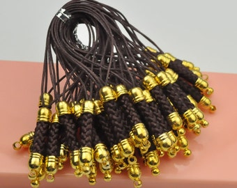 Raisin Cell Phone Strap Lanyard with Golden Tone Metal,Qty: 20pcs.