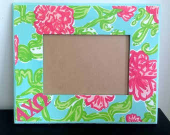 Sorority Lilly Pulitzer Print Inspired Picture Frame