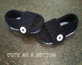 Baby crochet little mister loafers, baby boy loafers, black baby loafers, baby boy shoes, boy shoes, bone crochet loafer