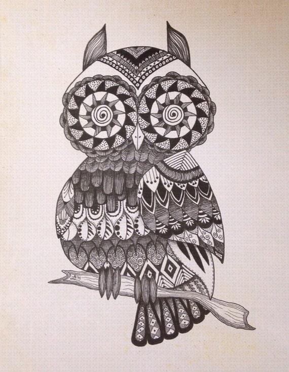 Zentangle owl art / hippie art / 8 X 10 / by SleepyEyeStudio