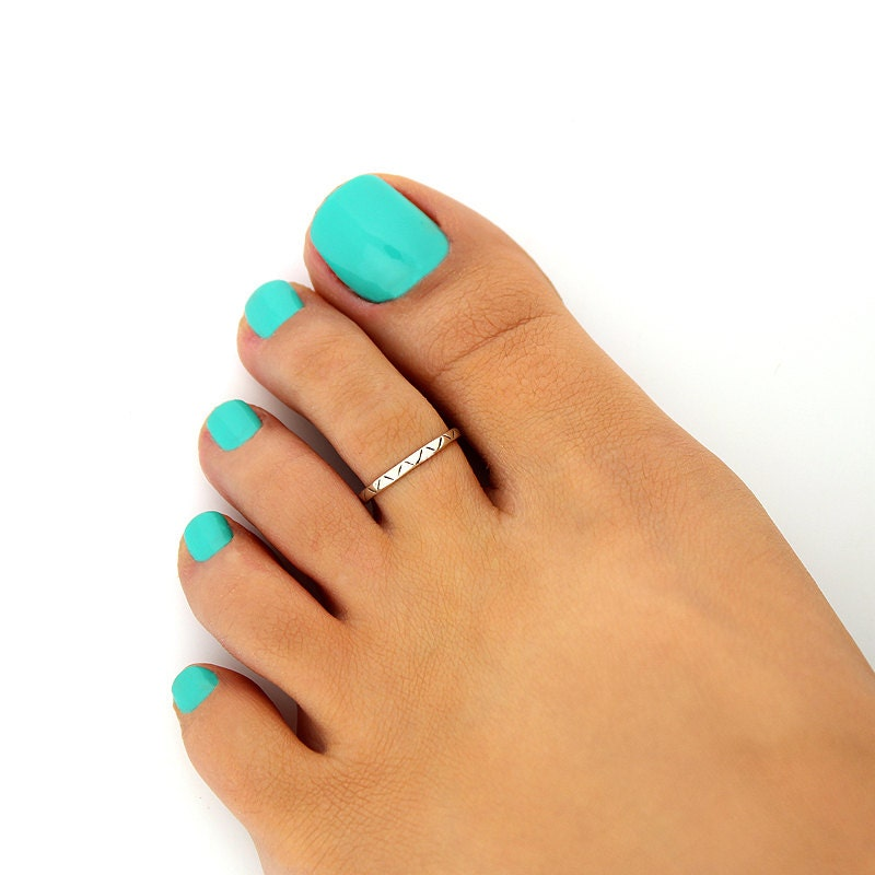 sterling silver toe ring simple zigzag design adjustable toe