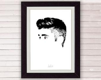 Justin Bieber, digital illustration, art print, LIMITED EDITION FOR 35