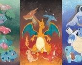 Original Pokemon Charley Harper-Inspired Artwork Print: Three Giants