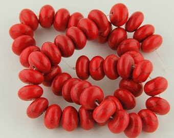 Red Turquoise Beads Gemstones  One strand about 45 beads